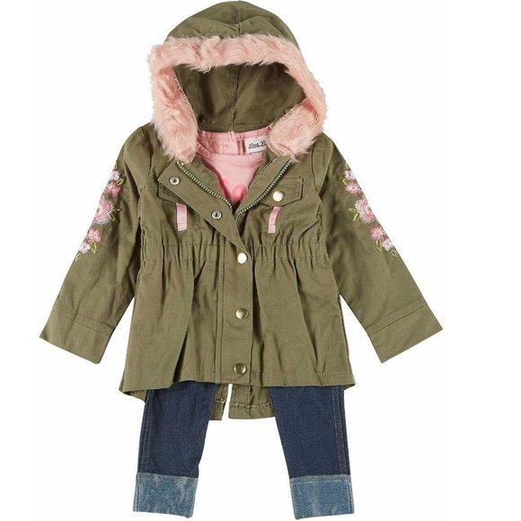 3 pc Olive Hooded Jacket Tee & Leggings Sz 6  NWT